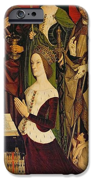 Alexandria iPhone Cases - Triptych Of Moses And The Burning Bush, Right Panel Depicting Jeanne De Laval D.1498 With St. John iPhone Case by Nicolas Froment