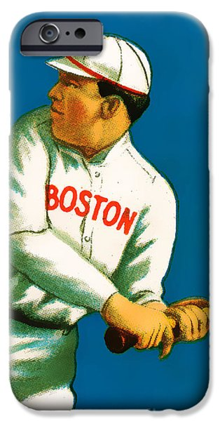 Boston Red Sox iPhone Cases - Tris Speaker Boston Red Sox Baseball Card 0520 iPhone Case by Wingsdomain Art and Photography