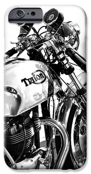 60s Photographs iPhone Cases - Triton Motorcycle iPhone Case by Tim Gainey