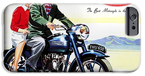 Vintage iPhone Cases - Triumph 1953 iPhone Case by Mark Rogan