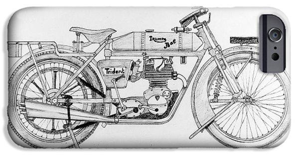Disc Drawings iPhone Cases - Triumph-Bat 750c.c. iPhone Case by Stephen Brooks