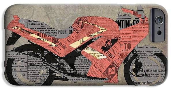 Con iPhone Cases - Triumph Daytona 1000 1992 and red news iPhone Case by Pablo Franchi