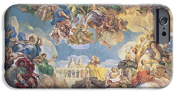 Justices iPhone Cases - Triumph Of The Hapsburgs Lower Section Of Ceiling iPhone Case by Luca Giordano