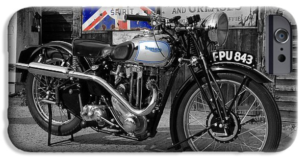 Cycles iPhone Cases - Triumph Tiger 80 iPhone Case by Mark Rogan