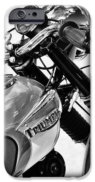60s Photographs iPhone Cases - Triumph Tiger Monochrome iPhone Case by Tim Gainey