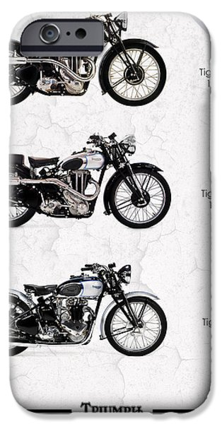 Motorcycle iPhone Cases - Triumph Tiger Trio iPhone Case by Mark Rogan