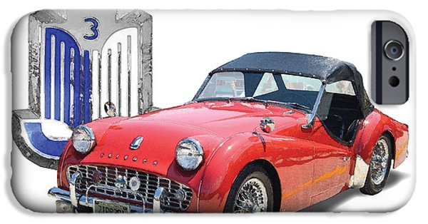 1950s Portraits Digital iPhone Cases - Triumph TR-3 iPhone Case by Dan Knowler