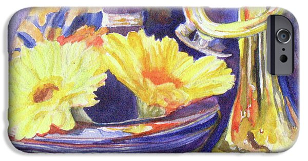 Trumpet Paintings iPhone Cases - Triumphant Daisies iPhone Case by Jenny Armitage