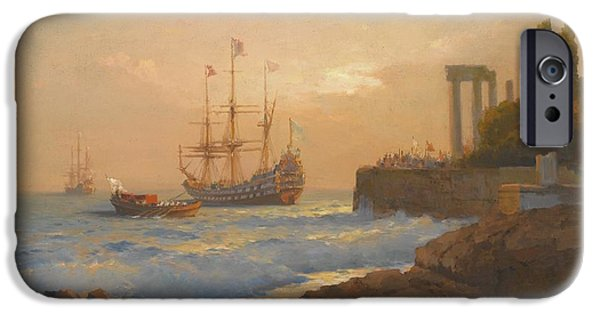 Orthodox Paintings iPhone Cases - Triumphant Ship Approaching The Harbour iPhone Case by Celestial Images