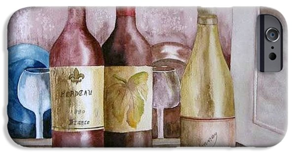 Wine Bottles iPhone Cases - Trois vin iPhone Case by Rosalea Greenwood