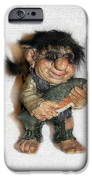 Child Sculptures iPhone Cases - Troll fisherman iPhone Case by Sergey Lukashin