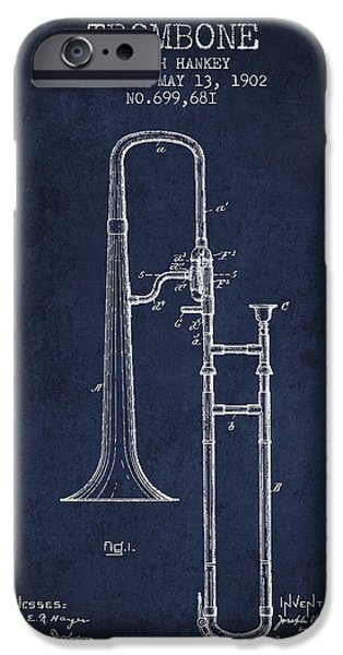Slide iPhone Cases - Trombone Patent from 1902 - Blue iPhone Case by Aged Pixel