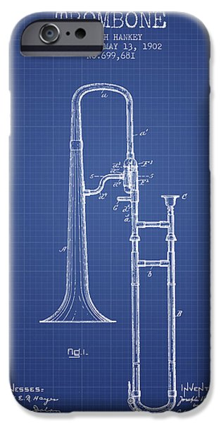 Slide iPhone Cases - Trombone Patent from 1902 - Blueprint iPhone Case by Aged Pixel
