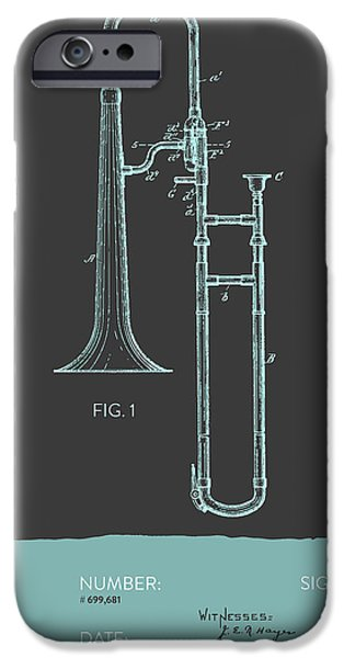 Slide iPhone Cases - Trombone Patent from 1902 - Modern Gray Blue iPhone Case by Aged Pixel