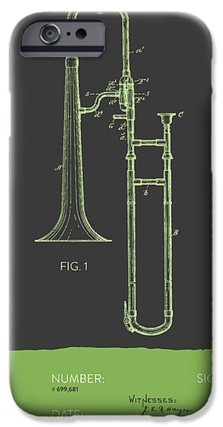 Slide iPhone Cases - Trombone Patent from 1902 - Modern Gray Green iPhone Case by Aged Pixel