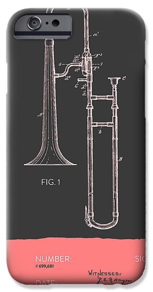 Slide iPhone Cases - Trombone Patent from 1902 - Modern Gray Salmon iPhone Case by Aged Pixel