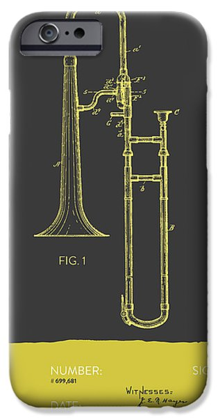 Slide iPhone Cases - Trombone Patent from 1902 - Modern Gray Yellow iPhone Case by Aged Pixel