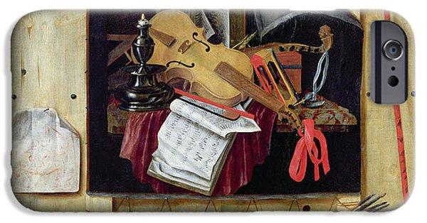 Sheets iPhone Cases - Trompe Loeil Still Life, 1665 Oil On Canvas iPhone Case by Cornelis Norbertus Gysbrechts