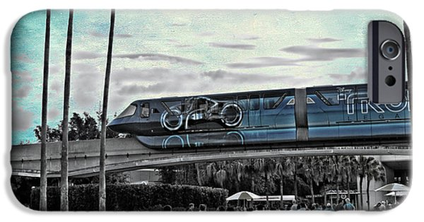 Tron iPhone Cases - Tron Monorail Disney World in SC Textured Sky iPhone Case by Thomas Woolworth