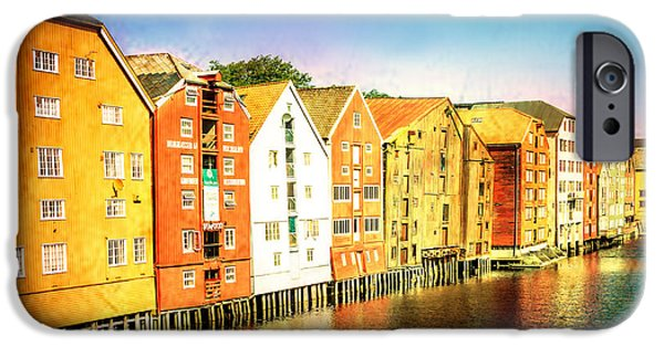 Norway iPhone Cases - Trondheim river houses iPhone Case by Catherine Arnas