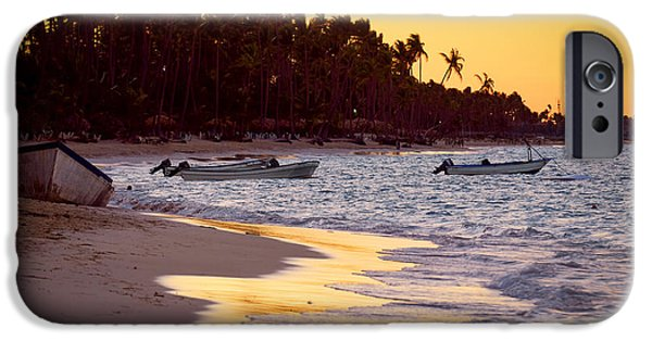 Surf Lifestyle Photographs iPhone Cases - Tropical beach at sunset iPhone Case by Elena Elisseeva