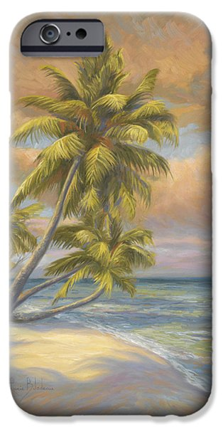 Scenery Paintings iPhone Cases - Tropical Beach iPhone Case by Lucie Bilodeau