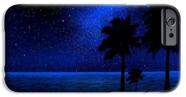 Astronomy Paintings iPhone Cases - Tropical Beach Wall Mural iPhone Case by Frank Wilson