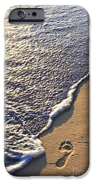 Sand iPhone Cases - Tropical beach with footprints iPhone Case by Elena Elisseeva