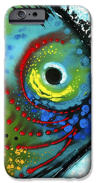 Colorful Paintings iPhone Cases - Tropical Fish - Art by Sharon Cummings iPhone Case by Sharon Cummings