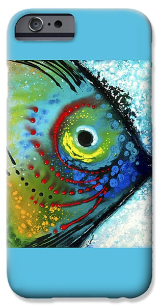 Aqua iPhone Cases - Tropical Fish - Art by Sharon Cummings iPhone Case by Sharon Cummings