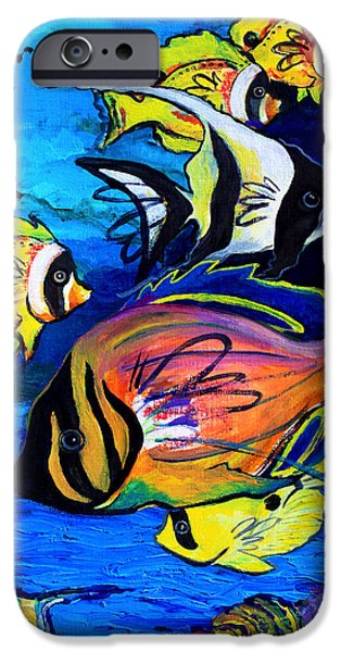 Sea Mixed Media iPhone Cases - Tropical Fish iPhone Case by Karon Melillo DeVega