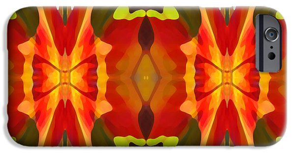 Abstract Digital Art iPhone Cases - Tropical Leaf Pattern 13 iPhone Case by Amy Vangsgard