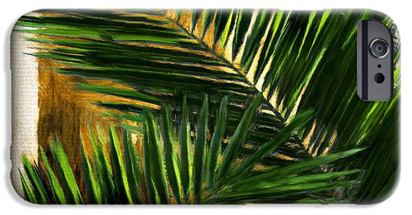 Wealth iPhone Cases - Tropical Leaves iPhone Case by Lourry Legarde