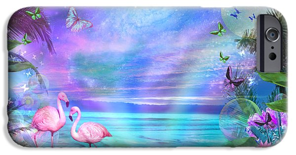 Beach Landscape iPhone Cases - Tropical Moonlight Flamingos iPhone Case by Alixandra Mullins