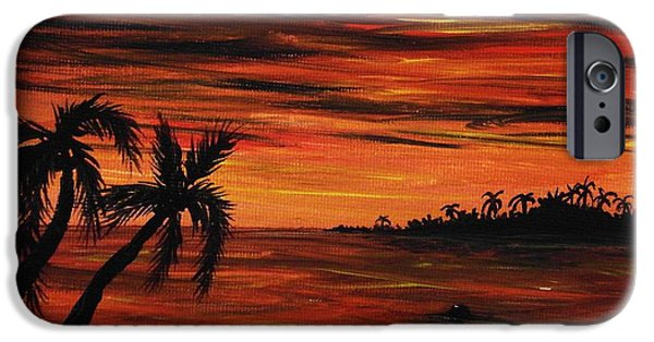 Sunset Paintings iPhone Cases - Tropical Night iPhone Case by Anastasiya Malakhova