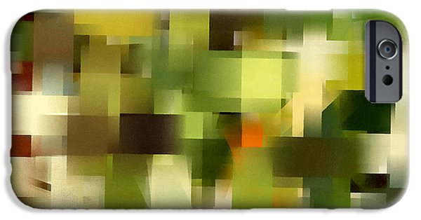 Green And Yellow Abstract iPhone Cases - Tropical Shades - Green Abstract Art iPhone Case by Lourry Legarde