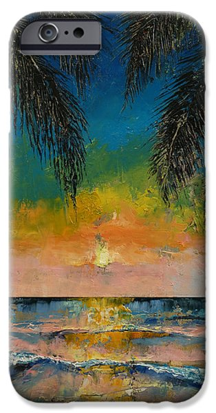 Abstract Seascape iPhone Cases - Tropical Sunset iPhone Case by Michael Creese