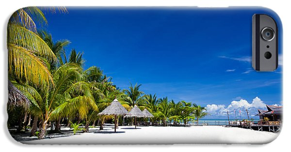 Exoticism iPhone Cases - Tropical White Sand Beach Borneo Malaysia iPhone Case by Fototrav Print