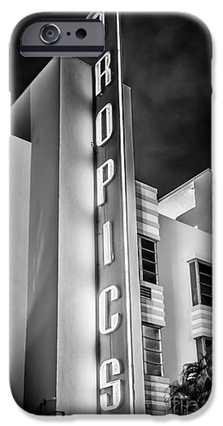 Tropics Hotel Art Deco District SOBE MiamI - Black and White iPhone Case by Ian Monk