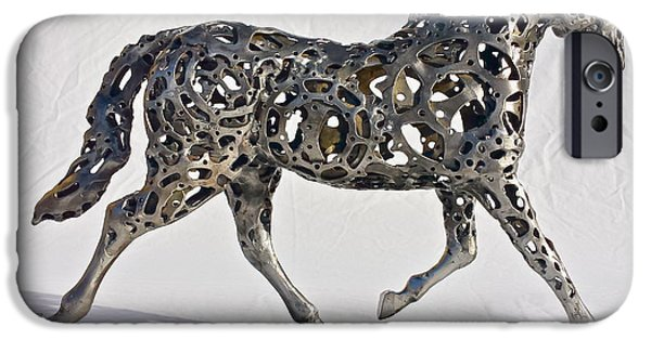 Gear Sculptures iPhone Cases - Trotting Horse iPhone Case by Pierre Riche
