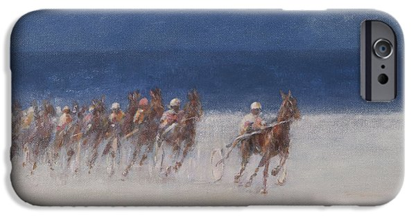 Horse iPhone Cases - Trotting Races, Brittany, 2012 Acrylic On Canvas iPhone Case by Lincoln Seligman