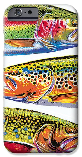 Flyfishing iPhone Cases - Trout Abstraction iPhone Case by JQ Licensing