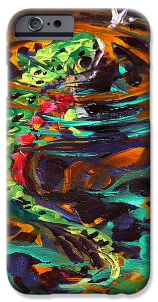 Abstract Seascape iPhone Cases - Trout and Fly II iPhone Case by Savlen Art