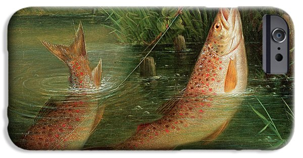 Pastimes iPhone Cases - Trout At Winchester iPhone Case by Valentine Thomas Garland