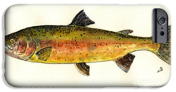 Trout Paintings iPhone Cases - Trout fish iPhone Case by Juan  Bosco