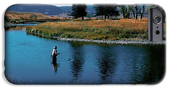Yellowstone National Park iPhone Cases - Trout Fisherman Slough Creek iPhone Case by Panoramic Images