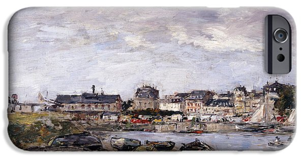 Sailing iPhone Cases - Trouville View toward Deauville on Market Day iPhone Case by Eugene Louis Boudin