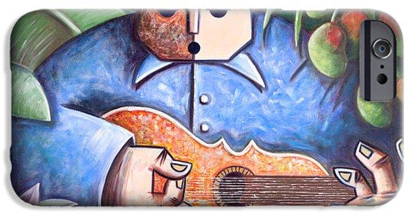 Mango Paintings iPhone Cases - Trovador de mango bajito iPhone Case by Oscar Ortiz