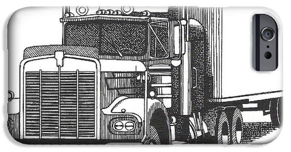 Pen And Ink iPhone Cases - Truck iPhone Case by John Houseman