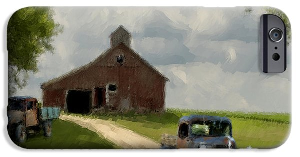 Shed Digital Art iPhone Cases - Trucks And Barn iPhone Case by Jack Zulli
